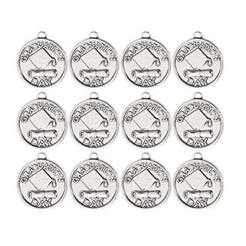 Amosfun 12 peças de prata antiga tema de graduação pingente vintage doutor chapéu redondo charms acessórios para fazer joias para colar pulseira joias