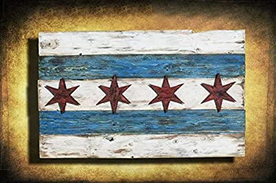 Handmade, Distressed Wooden Chicago Flag, vintage, art, distressed, weathered, recycled, Chicago flag art, home decor, Wall art, recycled by