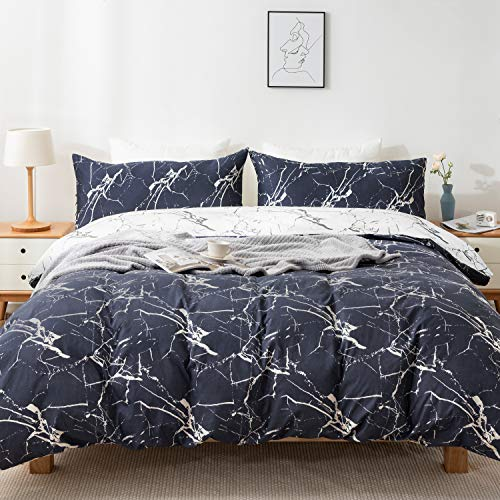 KOMEX 100% Cotton Duvet Cover Set 3 Pieces (2 Pillowcase,1 Duvet Cover) Bedding Sets Gray Blue Marble Print Soft Comforter Cover with Zipper Closure and Corner Ties Queen (90'×90')