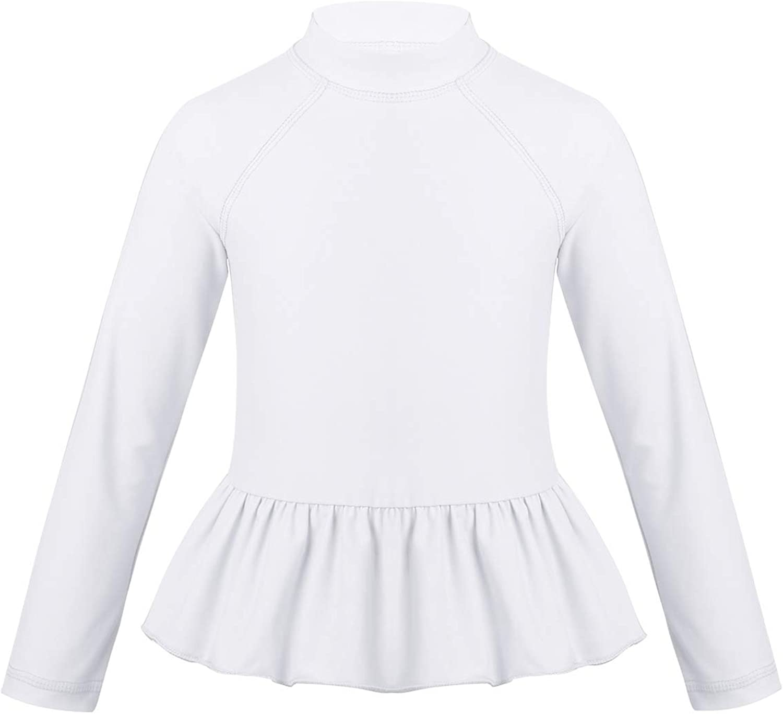 YiZYiF Girls' UV Sun Protection Rash Guard UPF 50+ Long Sleeve Swimming Peplum Top Swimsuit Tee Shirt