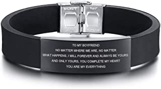 MEALGUET to My Boyfriend Gift Love Quote Engraved Silicone Wristband ID Bracelets for Lover Valentine's Day Christmas