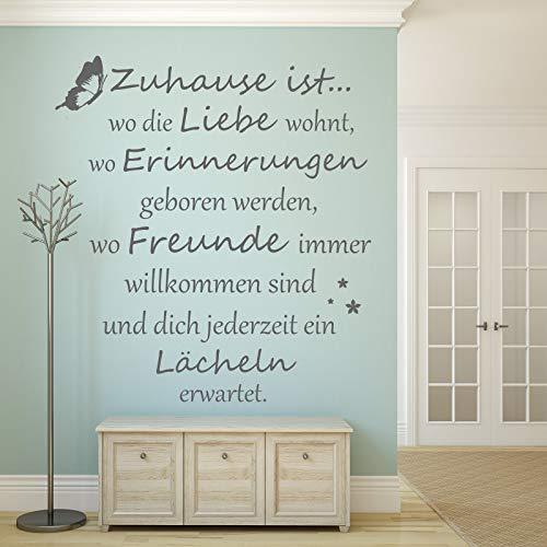 Wandschnörkel ® Wandtattoo Wandaufkleber Spruch FamilieAA620 Zuhause ist wo die Liebe wohnt, wo Erinnerungen geboren werden.Spruch