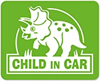 imoninn CHILD in car ステッカー 【マグネットタイプ】 No.72 トリケラトプスさん (黄緑色)