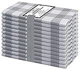 Baumwolle-Klinik 12 Servilletas de Tela Vintage 50 x 50 cm, Servilletas de 100% Algodón Cuadros, Calidad de Hotel Duradera, para Eventos y Uso Doméstico Regular Gris Blancas