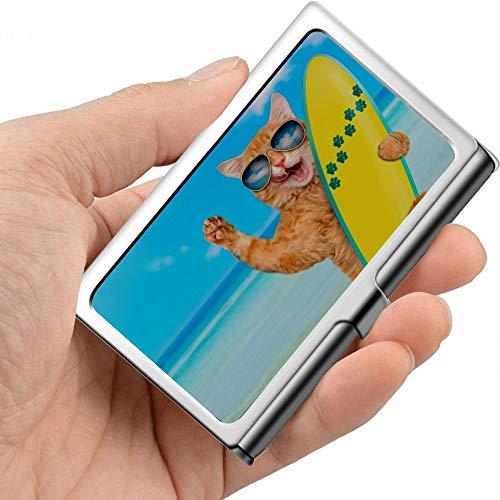 Tarjeta de visita de metal profesional Hermosa Surfer Cat On Beach Holder Pocket Business Card Case Slim Tarjeta de visita Carrier Business Card Holders Wa