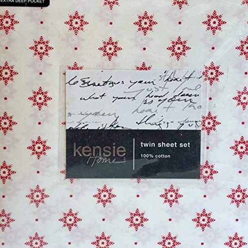 kensie Home RED Snowflakes Twin Size Sheet Set - All Cotton (Holiday Winter)