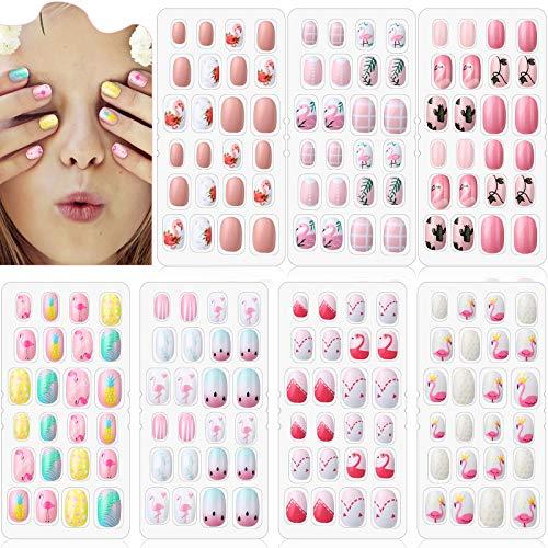 168 Stücke Mädchen Drücken Nägel 7 Tage Gefälschte Nägel Künstliche Nagelspitzen Kinder Volle Abdeckung Kurze Falsche Fingernägel für Mädchen Kinder Nagel Kunst Dekoration, 7 Boxen (Flamingo Thema)