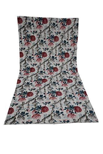 Kantha - Colcha para cama de matrimonio tamaño King o individual, hecha a mano, diseño de flores, estilo bohemio, estilo étnico, color beige, de 150 cm