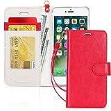 FYY Cover iPhone 8,Custodia iPhone 7,Cover iPhone 7,[RFID Blocco Portafoglio] Flip Custodia Portafoglio in PU,[Funzione Staffa]con Slot per Schede e Chiusura Magnetica per iPhone 7/8/SE 2020-Rosso