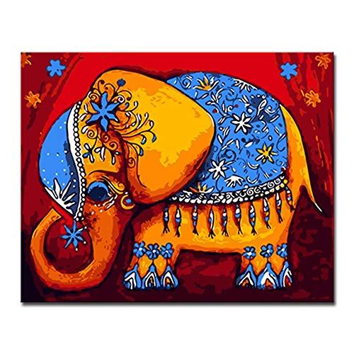 GWYKQ Diy pintura al óleo por números kits pintados a mano dibujo elefante abstracto para colorear lienzo cuadros arte de la pared decoración para el hogar,Sin Marco 40x50cm