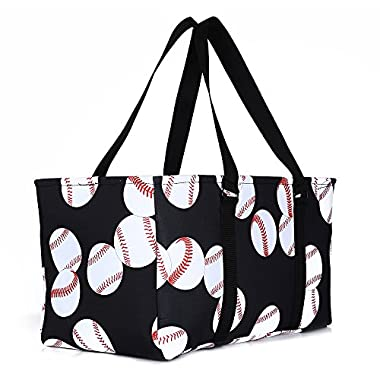 lo lord Baseball Tote Bag Utility Weekender Tote Open Top Extra Large Beach Tote Perfect for Travel Pool Beach and Car Organizer (Baseball white)