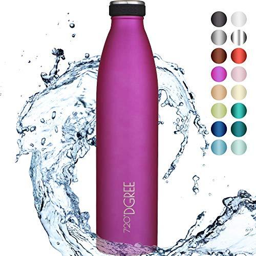 720°DGREE Botella Agua Acero Inoxidable milkyBottle – 1 Litro, 1l, 1000ml, Rosa | Novedoso Antigoteo con Termo de vacío térmico termica Beber en el Camino Deportiva Outdoor Niños