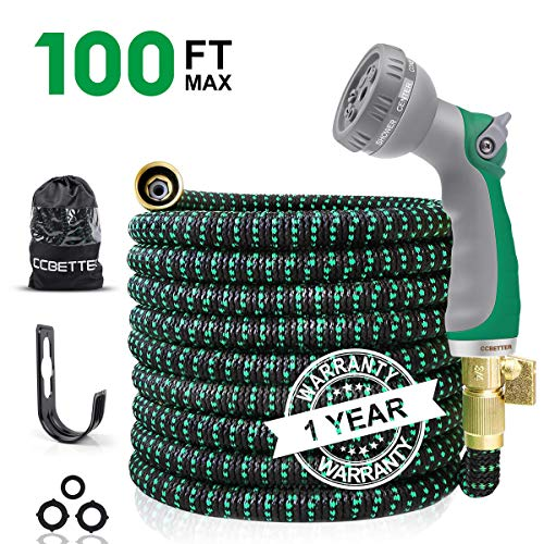 CCBETTER 100ft Garden Hose, Upgraded Leak Proof Lightweight Expandable Water Hose with 3/4''...