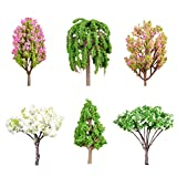 NUOBESTY 6 pcs Plastic Tree Micro Landscape Trees Decor Miniature Plant Bonsai Decoration Artificial Rainforest (Apple Tree Large Crape Myrtle Small Crape Myrtle pear Tree Pine Weeping Willow)