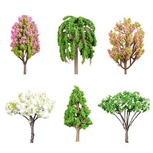 NUOBESTY 6 pcs Plastic Tree Micro Landscape Trees Decor Miniature Plant Bonsai Decoration Artificial Rainforest (Apple Tree Large Crape Myrtle Small Crape Myrtle pear Tree Pine Weeping Willow)