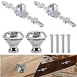 JAHEMU Pomo Cristal Perillas Cristal Diamante Cajón Perillas Aleación Diamante Perillas para Alacena Baño Cocina Gabinetes
