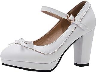 LOVOUO Mary Jane Chaussures Femme Escarpin Talon Carré Bloc Haut Plateforme Bride Cheville avec Noeud Boucle 8CM