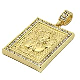 Men's 14k Gold Tone Malverde Pendant with 4mm 24' Rope Chain