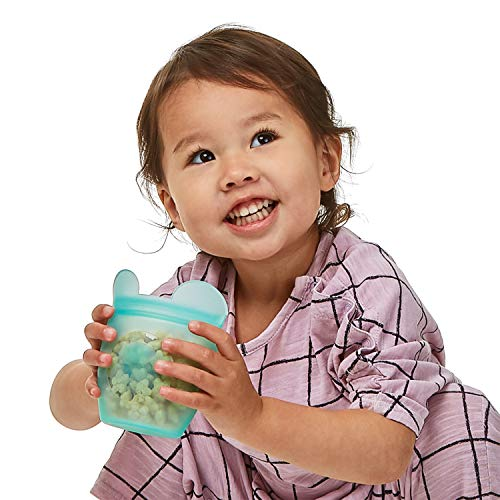 Zip Top Reusable 100% Silicone Baby + Kid Snack Containers- The only containers that stand up, stay open and zip shut! No Lids! Made in the USA - Full Set of 4 Nevada