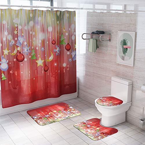 LAOSHIZI Navidad Alfombrillas de baño Suave Antideslizante alfombras de baño 4 Piezas Alfombra de Contorno en Forma de U y Cubierta del Asiento del Inodoro Cortina de la Ducha Impermeable Rojo