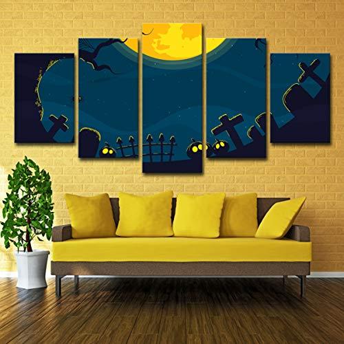 5 Panel leinwand Moderne HD Druckbild Wohnzimmer Schlafzimmer Dekoration malerei (mit Rahmen) Halloween spinne grabstein