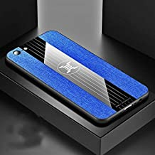 For OPPO A57 Stitching Cloth Textue Shockproof TPU Protective Case New (Black) LKay (Color : Blue)
