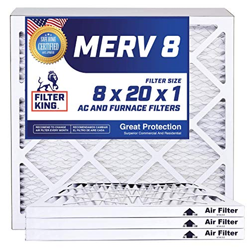 Filter King 8x20x1 Air Filters | 4 Pack | MERV 8 HVAC Pleated AC Furnace Filters | Actual Size 8x20x1