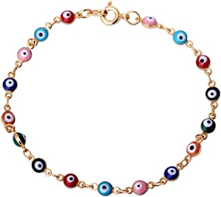 Womens Present Rose Gold Tone Overlay with Colorful Mini Evil Eye Style Bracelet 7.87 Inch