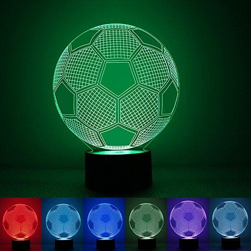 MBXLBIG Decorazione Zier Ornamentale Palloncino Calcio 3D Creativo colorato Luce Notturna Pulsante Camera da Letto USB Powered luci LED Natale Compleanno Capodanno Regalo
