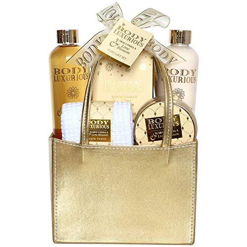 Coffret cadeau beauté pour femme - Sac de Bain doré incluant une serviette de visage - Collection Body Luxurious - Vanille/Tilleul