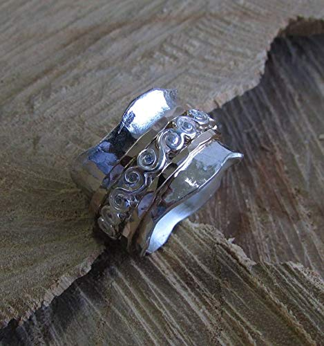 925 silver ring* Boho Statement Ring* Wide Band Spinner Ring* Fidget Meditation Ring* Sterling Silver* Hammered Spinning Ring* Worry Ring*