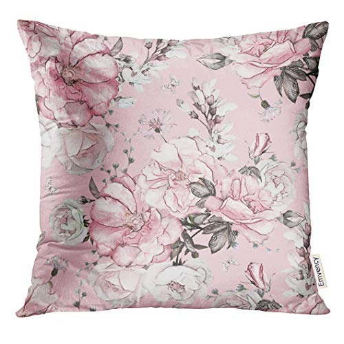 Golee Throw Pillow Cover Gray Leaf with Flowers and Leaves on Pink Watercolor Floral Pattern Rose in Pastel Color White Abstract Decorative Pillow Case Home Decor Square 18x18 Inches Pillowcase