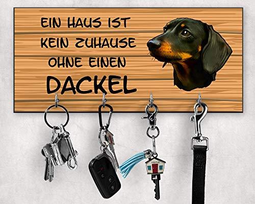 Schlüsselbrett, Dackel-Leinenhalter, Dackel-Besitzergeschenke, Schlüssel- und Leinenhalter für Wand, Wanddekoration, Wandorganizer, Hundeleinenhalter, Größe 28x12cm