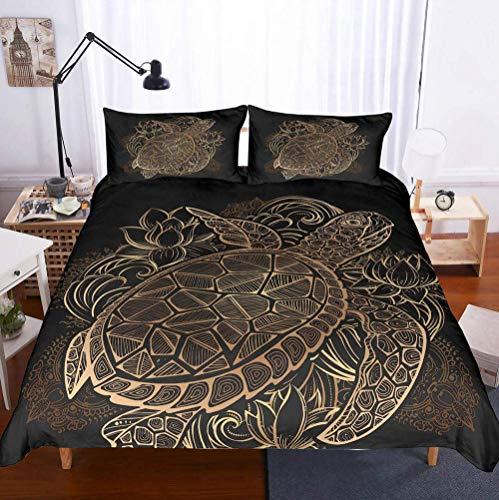 Sallypan Duvet Cover And Pillowcase Set, Marine Life Turtle Pattern Ocean Park Theme, Underwater World Quilt Bedding Set 3Pcs,1,Single140cm×210cm