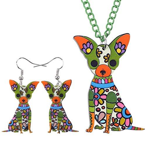 FUKAI Conjunto de joyería para perro chihuahua de acrílico ligero, collar y pendientes, joyería para mujer (color: verde)