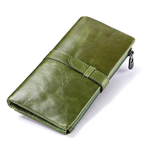Rfid Cepillo antirrobo Tarjetero de cuero ultrafino Titular de tarjeta de crédito Multitarjeta Bolso de embrague femenino Monedero de cuero Monedero-green-Onesize