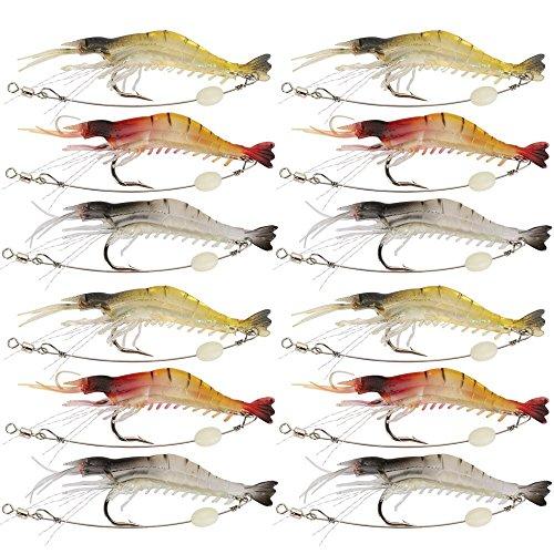 Goture Soft Lures Shrimp Bait Set, Freshwater/Saltwater, Trout Bass Salmon, 12 Piece