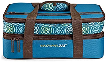Rachael Ray Expandable Lasagna Lugger Casserole Carrier, 13X9, Marine Blue Floral Medallion