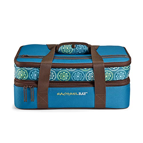 Rachael Ray Expandable Lasagna Lugger, Double Casserole Carrier for Parties - Fits two 9'x13' Dishes, Marine Blue Floral Medallion