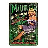 Makkalensau Carteles de Chapa Tren de avión Decoración de Pared de Metal Vintage para Bar Pub Club Garaje Hombre Cueva Cartel Pin Up Girl Placa Retro 20x30cm H