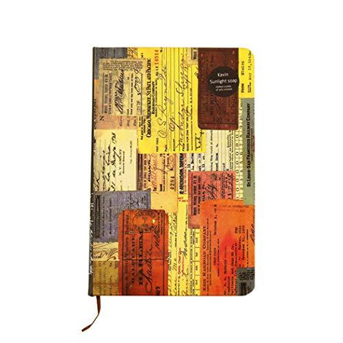 Ranvi Cuaderno de papel Kraft de estilo retro europeo de, libreta de tapa dura creativa con tapa dura A5, marrón