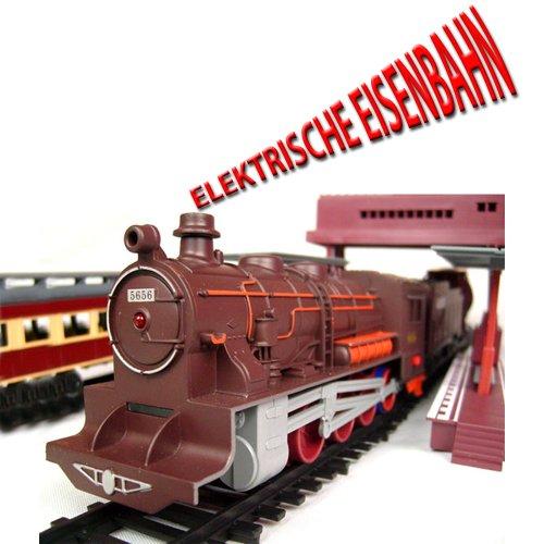 XXL Elektrische Eisenbahn mit Licht- und Soundeffekte, über 10 Meter Eisenbahnstrecke, Lokomotive inkl. 6 Wagons und viel Zubehör, Komplett-Set