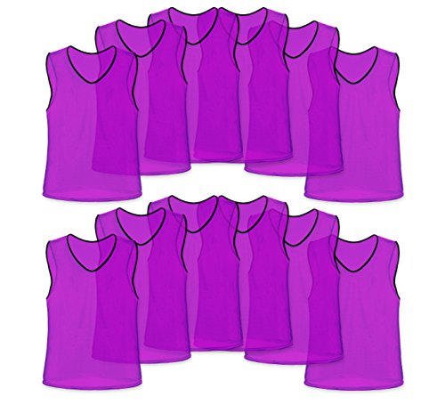 Unlimited Potential Nylon Mesh Scrimmage Team Practice Vests Pinnies Jerseys for Children Youth Sports Basketball, Soccer, Football, Volleyball (Purple, Adult)