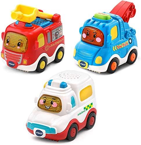 VTech Toot Drivers, Confezione da 3 Veicoli di Emergenza (Motore del Fuoco, Ambulanza, rimorchio),...