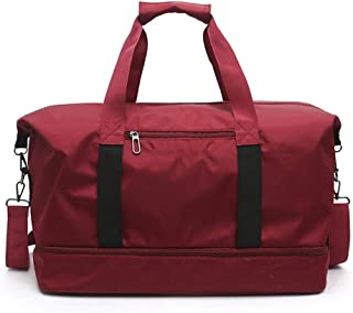 Travel Bag Neutral, Yoga Carry-on Duffel Bag, Large Capacity (20~35L) Oxford Cloth Gym Bag, Light and Breathable Foldable, Suitable for Short Trips,Red