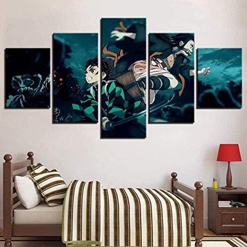 5 Stück Gemälde Wand Kunst Wohnzimmer Poster Modern Schwertkämpfer Anime Boy Picture Demon Slayer 5 Panel Hd-Druck Moderne Modulare Kinderzimmerdekoration Neujahrsgeschenk