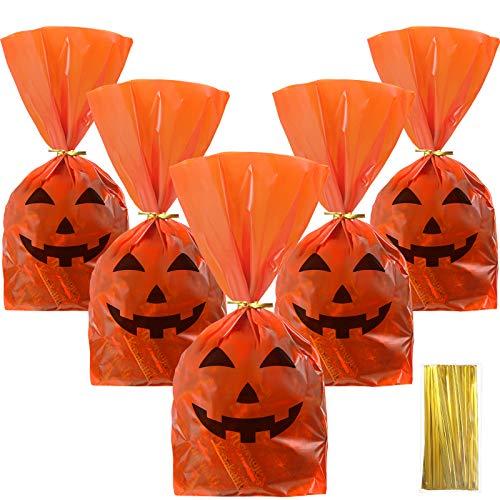 50 Pieces Halloween Favor Bags Pumpkin