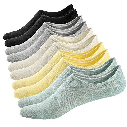 Ueither 5 Pares Calcetines Invisibles Mujer De Algodón Calcetines Cortos Elástco Con Silicona Antideslizante (36-43, Color 2)