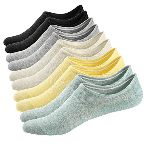 Ueither 3 o 6 Pares Calcetines Invisibles Mujer De Algodón Calcetines Cortos Elástco Con Silicona Antideslizante