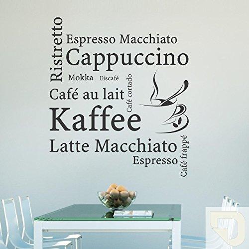 DESIGNSCAPE® Wandtattoo Wortwolke Kaffee, Café au lait, Cappuccino, Espresso Macchiato, Ristretto, Mokka, Eiscafé, Café Cortado, Latte Macchiato, Espresso, Café frappé 100 x 114 cm (Breite x Höhe) creme DW803046-L-F102
